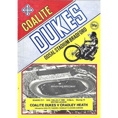 1986 Bradford Coalite Dukes v Cradley Heath Heathens British League (13/07/1986) Speedway Programme