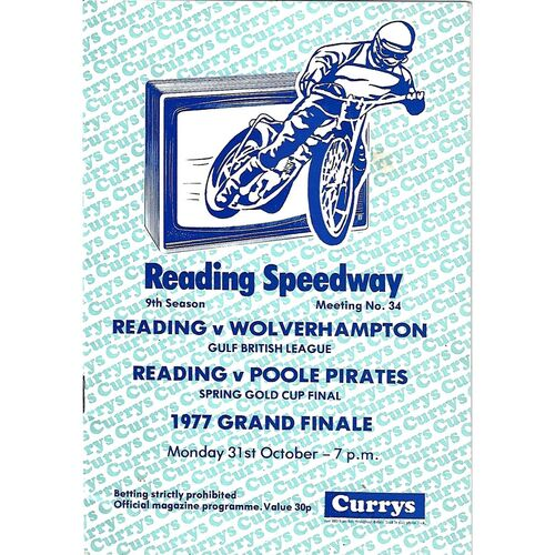 1977 Reading Racers v Wolverhampton Wolves Gulf Oil British League, Rading Racers v Poole Pirates Spring Gold Cup Final (31/10/1977) Speedway Programme