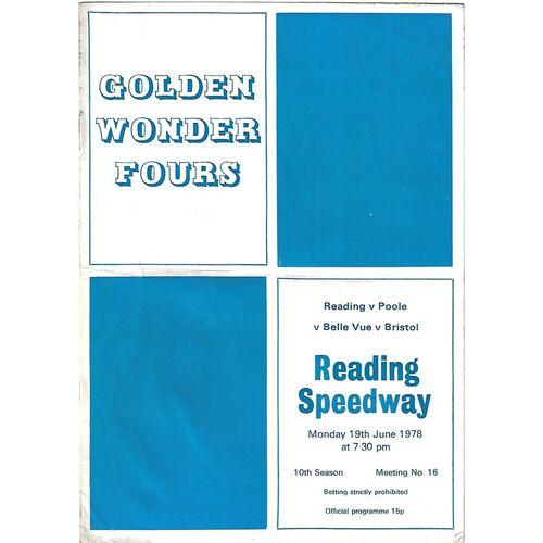 1978 Reading v Poole v Belle Vue v Bristol Golden Wonder Fours (19/06/1978) Speedway Programme