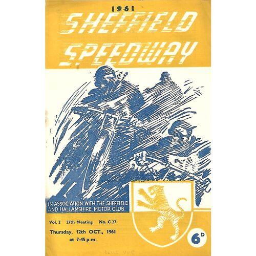 1961 Sheffield Tigers v Belle Vue Challenge Match (12/10/1961) Speedway Programme