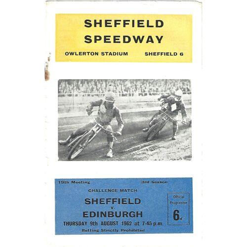 1962 Sheffield Tigers v Edinburgh Challenge Match (09/08/1962) Speedway Programme
