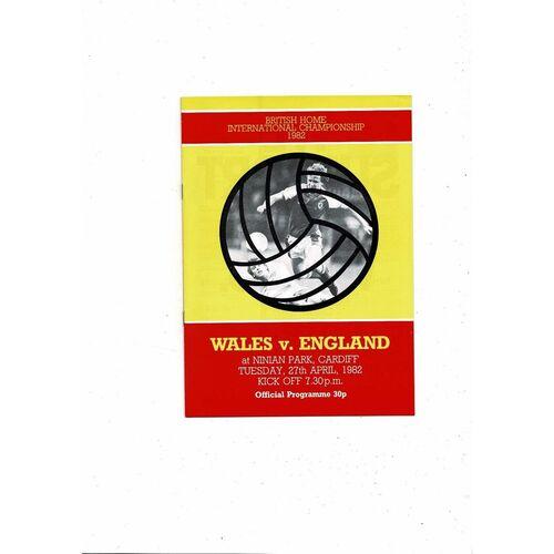 1982 Wales v England Football Programme