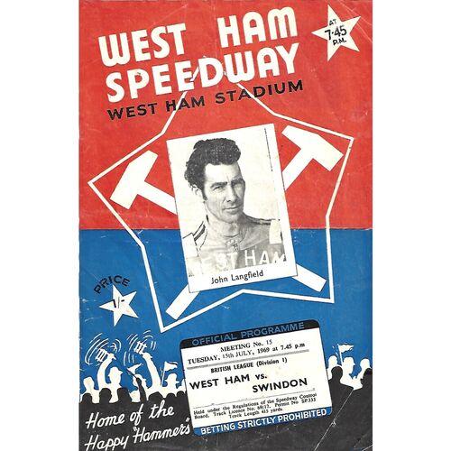 1969 West Ham v Swindon British League (15/07/1969) Speedway Programme