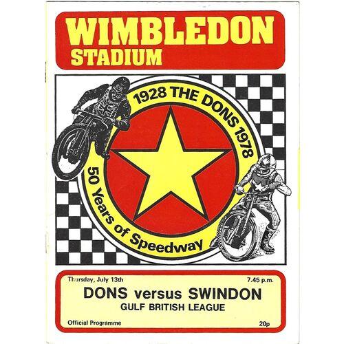1978 Wimbledon v Swindon Gulf British League (13/07/1978) Speedway Programme