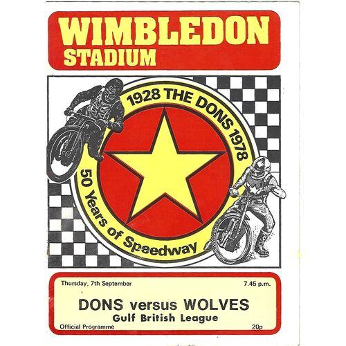1978 Wimbledon v Wolverhampton Gulf British League (07/09/1978) Speedway Programme