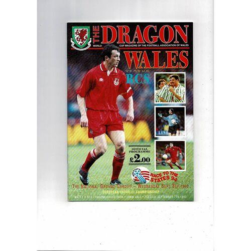 1993 Wales v Czech Republic (RCS) Football Programme