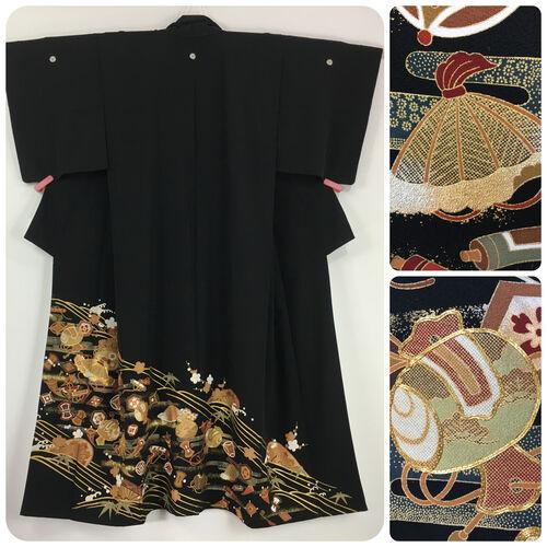 M-L, long black tomesode kimono for women
