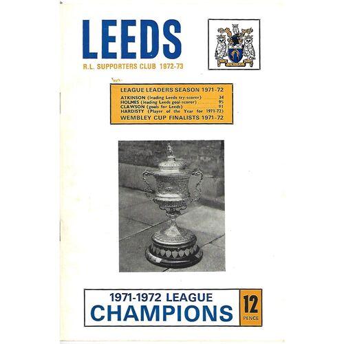 1972/73 Leeds Rugby League Supporters Handbook