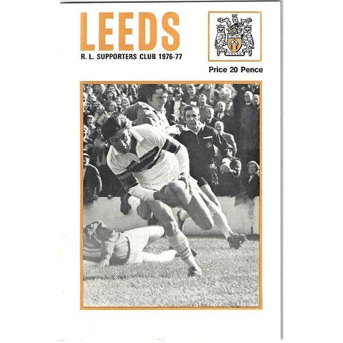 1976/77 Leeds Rugby League Supporters Handbook