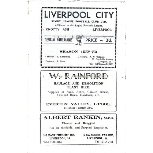 Liverpool City Home Rugby League Programmes