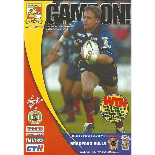 2003 London Broncos v Bradford Bulls Rugby League programme