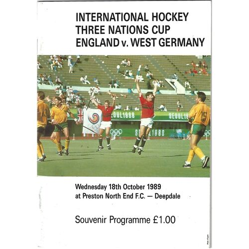 1989 England v West Germany Three Nations Cup Men's International Hockey Programme