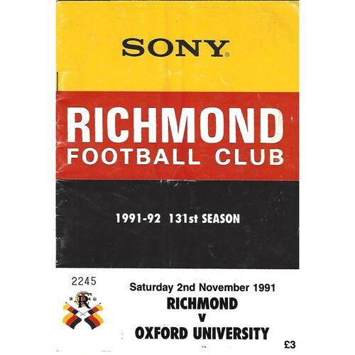 1991/92 Richmond v Oxford University Rugby Union Programme