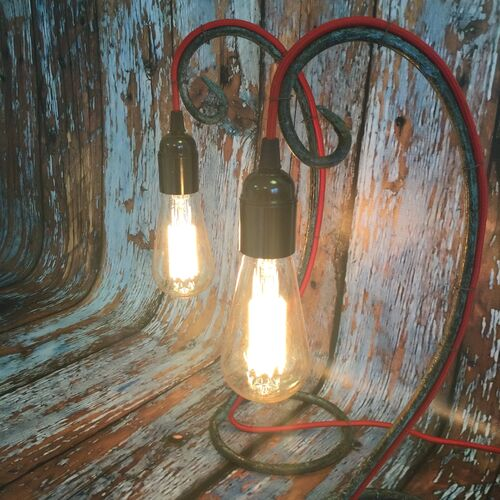 Pair of Wrought Iron Upcycled Table Lamps.
