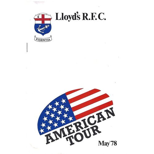 1978 Lloyd's R.F.C American Tour Rugby Union Programme