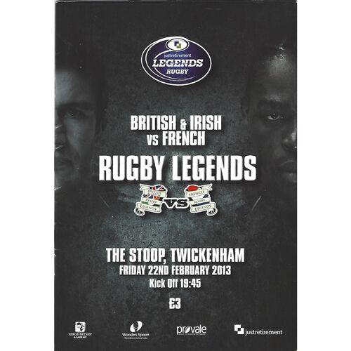 2013 British & Irish Legends v French Legends Rugby Union Programme & Match Ticket