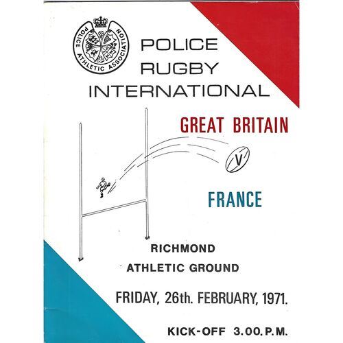 1971 Great Britain v France International Police Rugby Union Programme