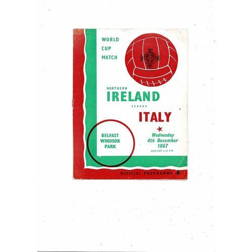 1957 Northern Ireland v Italy Football Programme