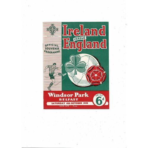 1958 Northern Ireland v England Football Programme