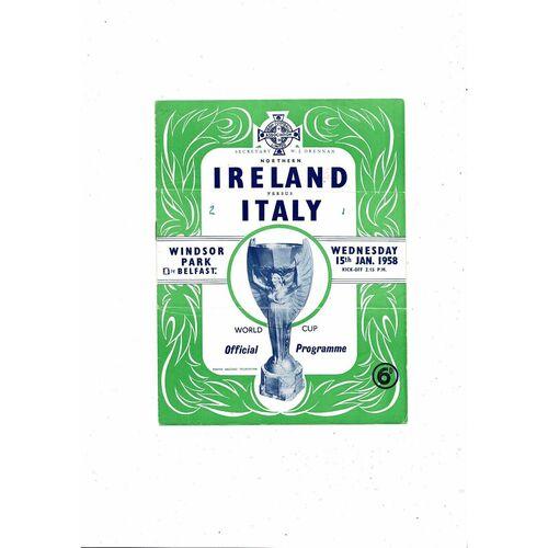 1958 Northern Ireland v Italy Football Programme