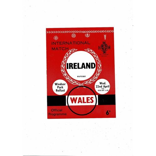 1959 Northern Ireland v Wales Football Programme