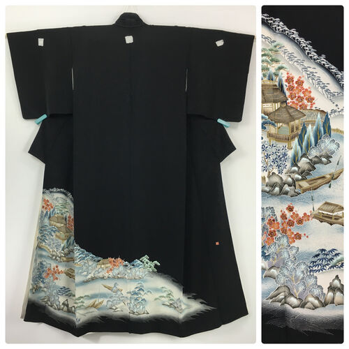 M-L, black tomesode kimono for women