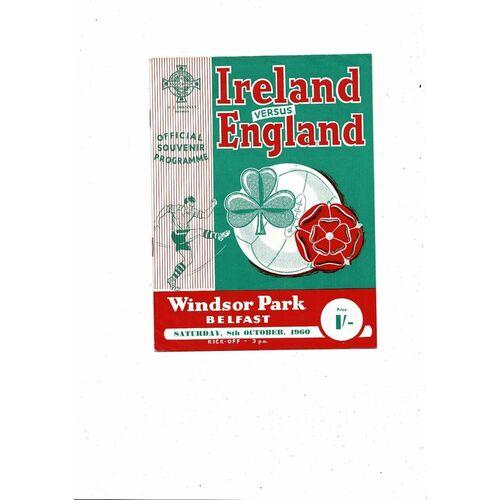1960 Northern Ireland v England Football Programme