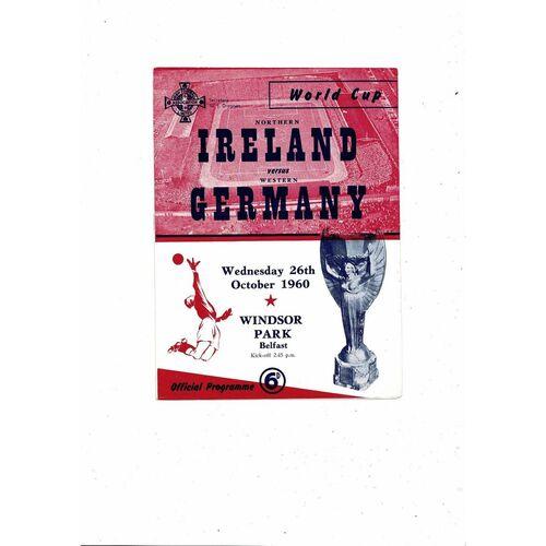 1960 Northern Ireland v Germany Football Programme