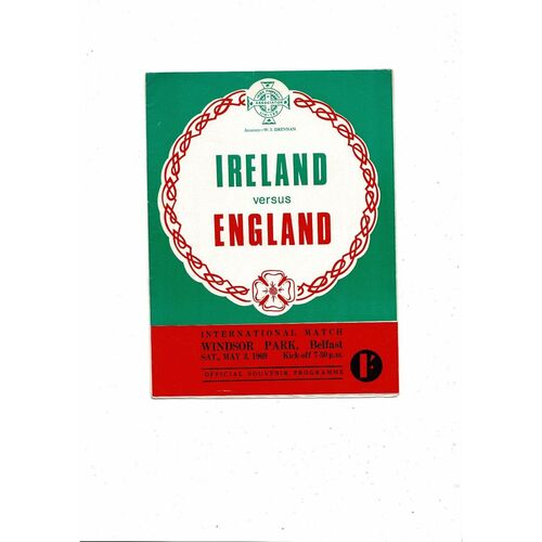 1969 Northern Ireland v England Football Programme