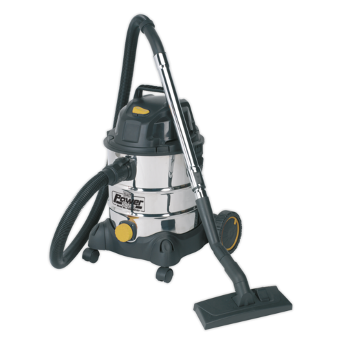 Vacuum Cleaner Industrial Wet & Dry 20L 1250W/110V Stainless Drum - PC200SD110V