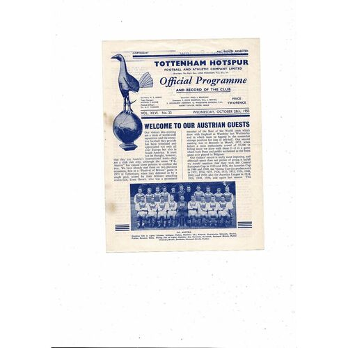 Tottenham Hotspur v FC Austria Friendly Football Programme 1953/54