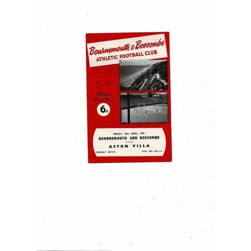 Bournemouth v Aston Villa Friendly Football Programme 1964/65