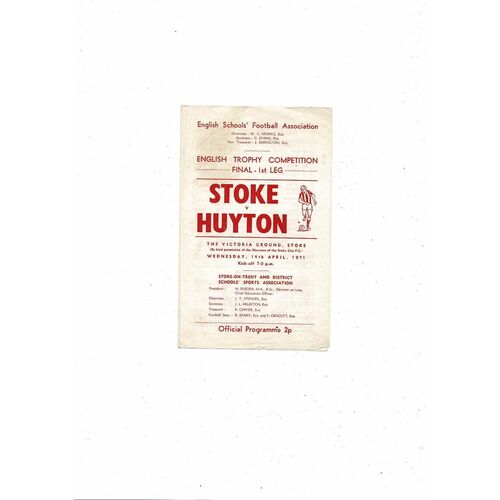 1971 Stoke City v Huyton Schools Trophy Final Football Programme
