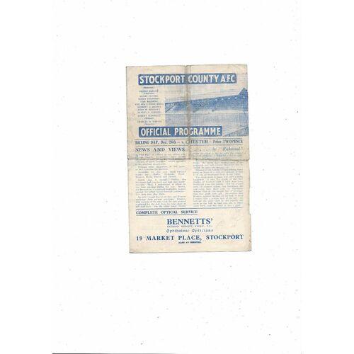 1945/46 Stockport County v Chester Football Programme