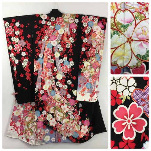 M-L, black furisode kimono for women