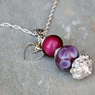 Lilac Cranberry Trio Necklace