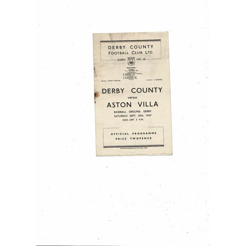 1947/48 Derby County v Aston Villa Football Programme