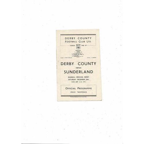 1946/47 Derby County v Sunderland Football Programme