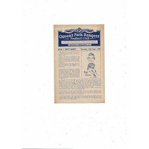 1947/48 Queens Park Rangers v Notts County Football Programme