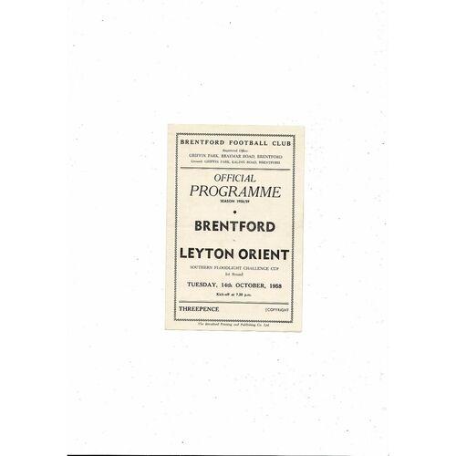 1958/59 Brentford v Leyton Orient Southern Floodlight Cup Football Programme
