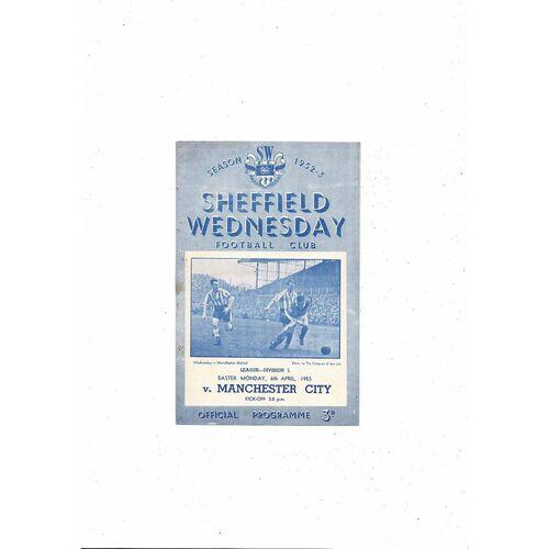 1952/53 Sheffield Wednesday v Manchester City Football Programme