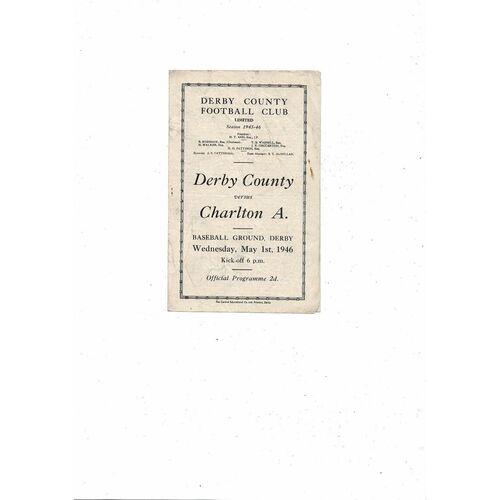 1945/46 Derby County v Charlton Athletic Football Programme