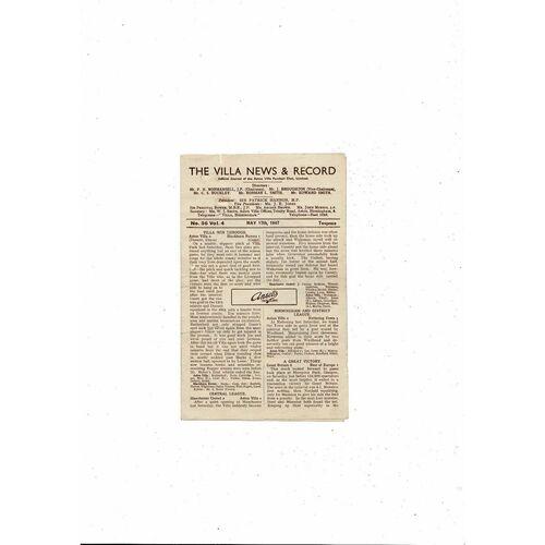 1946/47 Aston Villa v Preston Football Programme