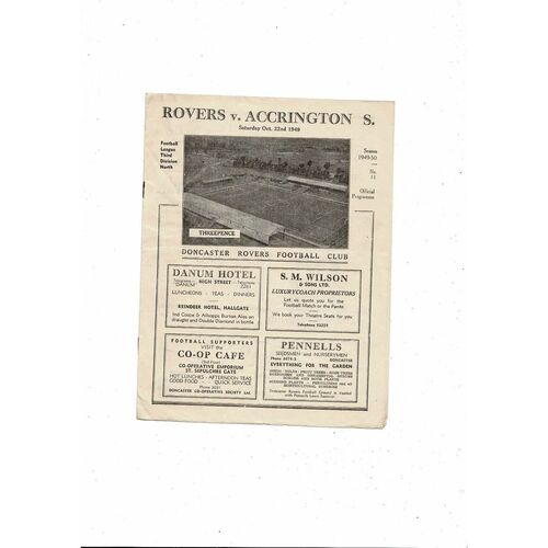 1949/50 Doncaster Rovers v Accrington Stanley Football Programme