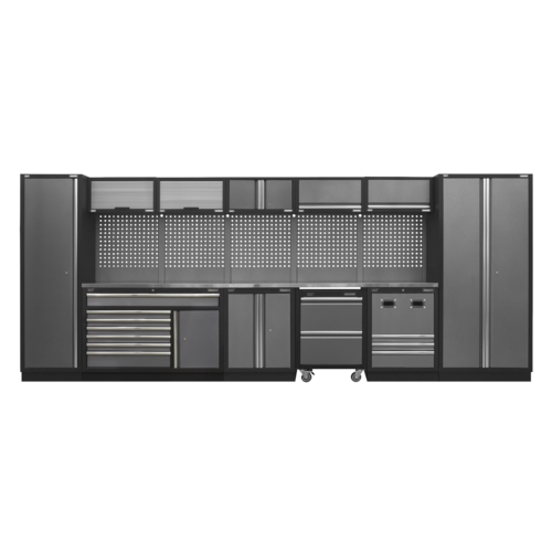 Modular Storage System Combo - Stainless Steel Worktop - Sealey - APMSSTACK16SS