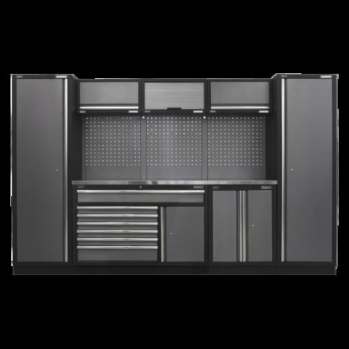 Superline Pro 3.24m Storage System - Stainless Steel Worktop - APMSSTACK13SS