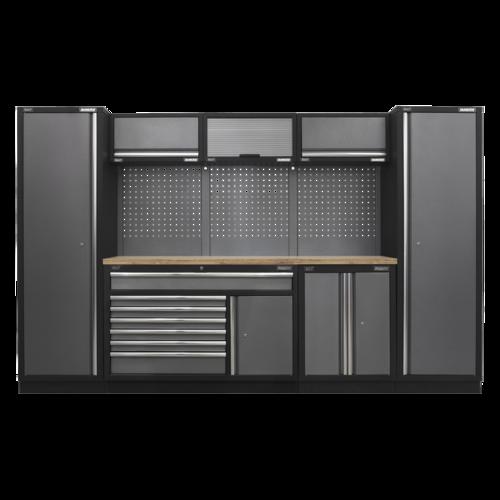 Superline Pro 3.24m Storage System - Pressed Wood Worktop - APMSSTACK13W