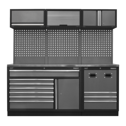 Modular Storage System Combo - Stainless Steel Worktop - Sealey - APMSSTACK14SS