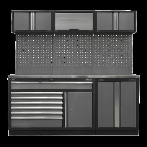 Superline Pro 2.04m Storage System - Stainless Steel Worktop - APMSSTACK11SS