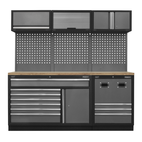 Modular Storage System Combo - Pressed Wood Worktop - Sealey - APMSSTACK14W